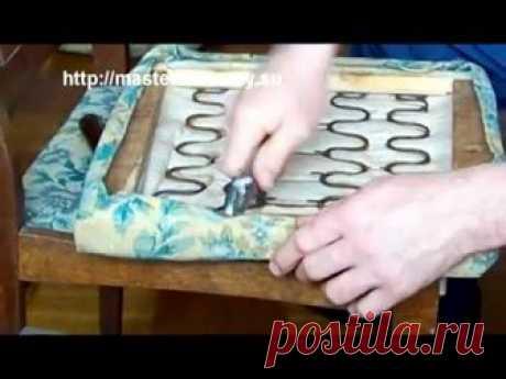 смена обивки стула.как сменить обивку мягкой мебели своими руками
