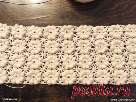 Безотрывное вязание - цветочки с пышными столбиками