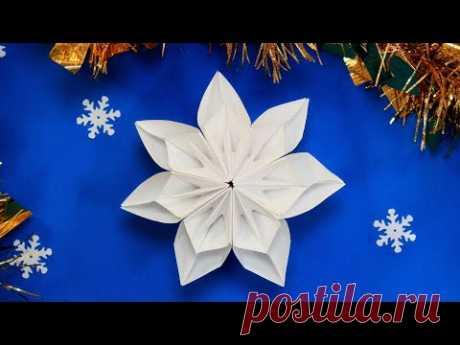 Простая Снежинка оригами из бумаги
