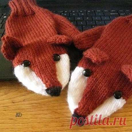 """Забавные детские варежки """"Лисички"""" #knitting #вязание_спицами #варежки_спицами #вяжем_детям"""