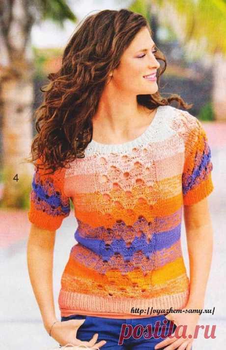 Вязаный пуловер реглан с ажурной полосой Изысканный пуловер реглан: эффект деграде этого пуловера с короткими рукавами получается в результате вязания двойной нитью, которая постоянно встречается в разных сочетаниях.