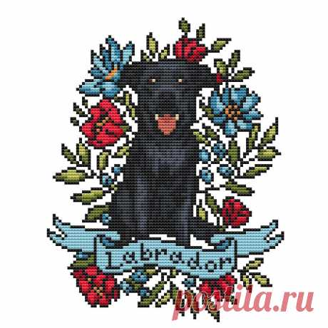Black labrador cross stitch pattern PDF/ dog needlepoint | Etsy
