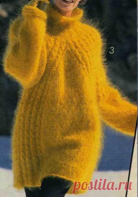 Теплый мохеровый пуловер   Вязание и рукоделие