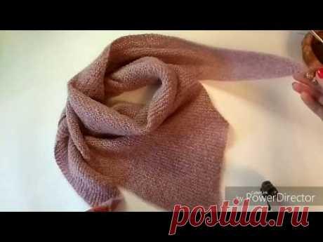 МК шаль, бактус, платок  спицами платочной вязкой,простая шаль спицами, 1 вариант, для начинающих