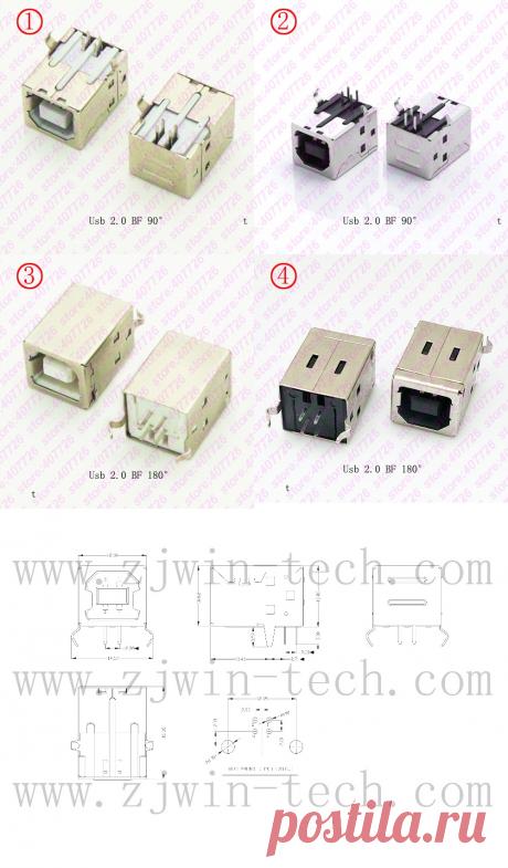 5 шт., разъем USB 2,0, гнездовой разъем типа B, разъем 90 градусов, разъем для пайки печатной платы, интерфейс принтера белый/черный|Соединители| | АлиЭкспресс