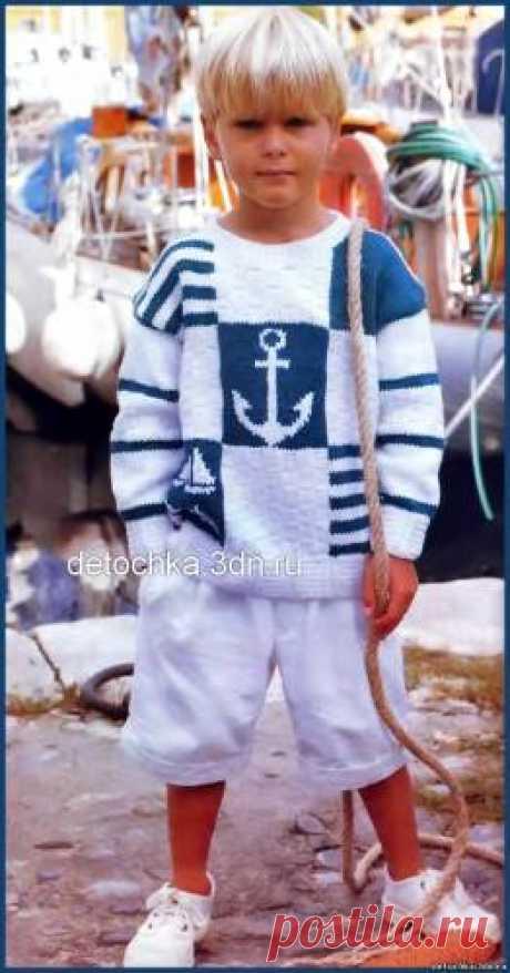 Детский пуловер с морскими мотивами связанный спицами - Вязание пуловеров для мальчиков - Вязание мальчикам - Вязание для малышей - Вязание для детей. Вязание спицами, крючком для малышей