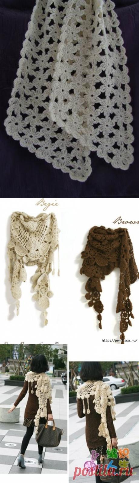 Ажурные модные шарфики связанные крючком