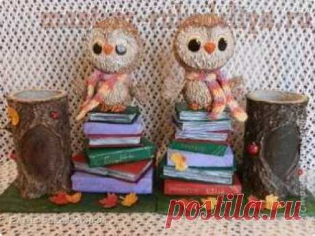 Мастер-класс по папье-маше: Карандашницы с совами