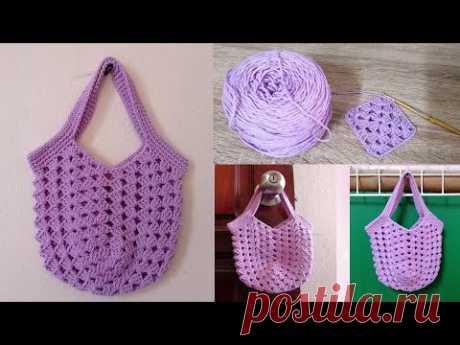 DIY #ถักกระเป๋าถุงผ้า ถักโครเชต์แบบง่ายๆ ลดการใช้ถุงพลาสติก | Easy crochet tote bag | market bag