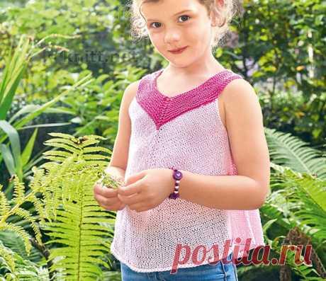 Вязаный розовый топ для девочки