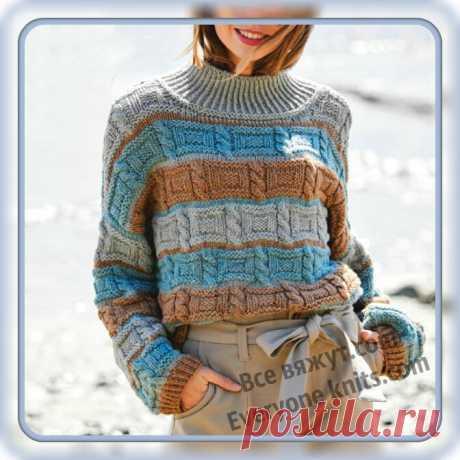 Холод, ветер - поспеши, теплый джемперок свяжи. 10 моделей новинок этого сезона спицами.   Все вяжут.сом/Everyone knits.com   Яндекс Дзен