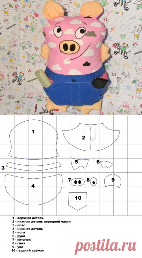 Подушка свинка своими руками в лоскутной технике в пошаговом уроке
