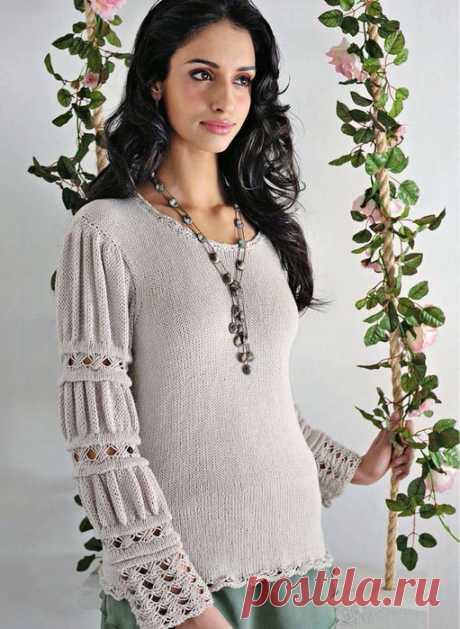 El pulóver gris con las mangas hermosas \/ la Labor de punto