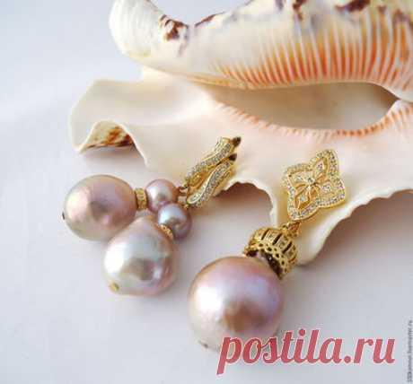 """Купить Серьги, кулон """"Frutti di Mare"""", барочный жемчуг - бледно-розовый, розовый жемчуг"""