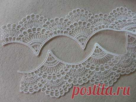 White Embroidery Venise Scalloped Edging Lace Trim 1 97 inches wide one yard - MommyGrid.com