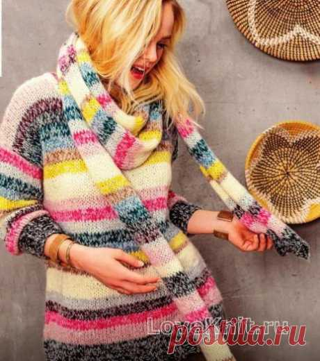Удлиненный полосатый свитер и длинный шарф схема спицами » Люблю Вязать