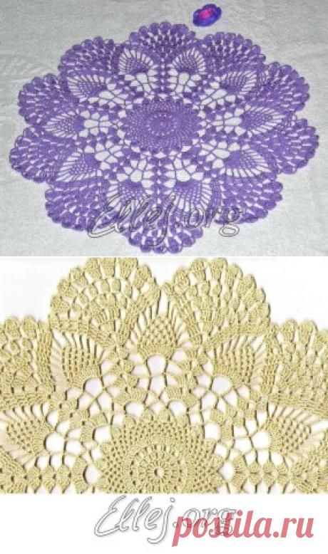 Сиреневая салфетка (36 см) — Crochet by Ellej   Вязание крючком от Елены Кожухарь