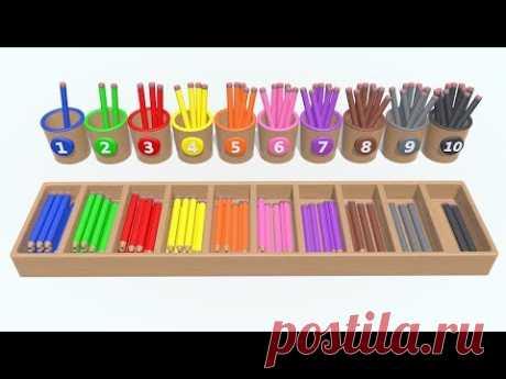 Мультфильмы 3d.Учимся считать от 1 до 10. Разноцветные Карандаши. Детский канал. Паровозик Олли