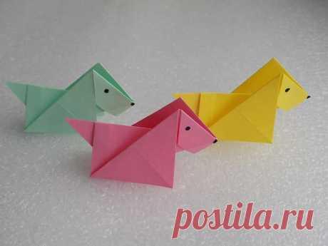 Как сделать собаку из бумаги — схема изготовления своими руками Как сделать собаку из бумаги в технике оригами самого простого варианта. Сделать из бумаги ее очень легко. Для изготовления необходим один альбомный лист А4