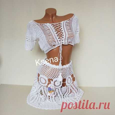 Crochet top and mini skirt Beach crochet suit Skirt and top | Etsy