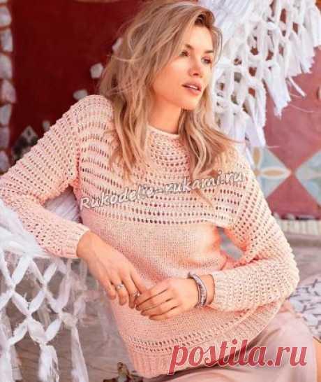 Короткий пуловер с ажурными узорами спицами - схемы для вязания