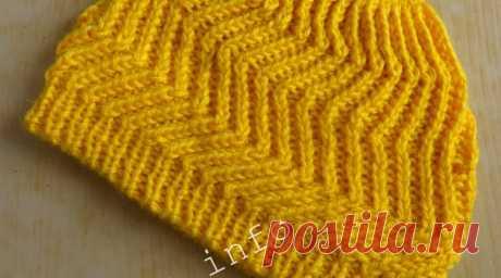 Красивая шапка, связанная спицами — Все о вязании — SamantaWay