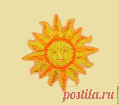 Купить вышивка аппликация нашивка Древнерусское солнце Ярило оберег - Аппликация, термоаппликация, вышивка, нашивка
