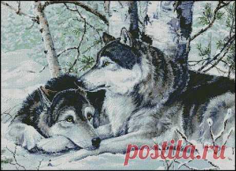 """Схема вышивки волков """"Devoted Soulmates"""" (Преданные друг другу)"""