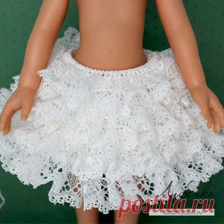 Вязание с кружевом. Вяжем кружевное платье для кукол @ Оксана Лифенко