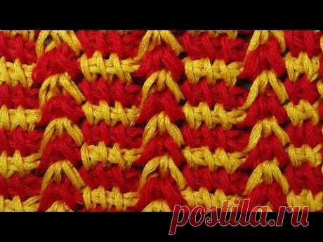 Узор вязания Гусиные лапки Tunisian crochet tutorial  30