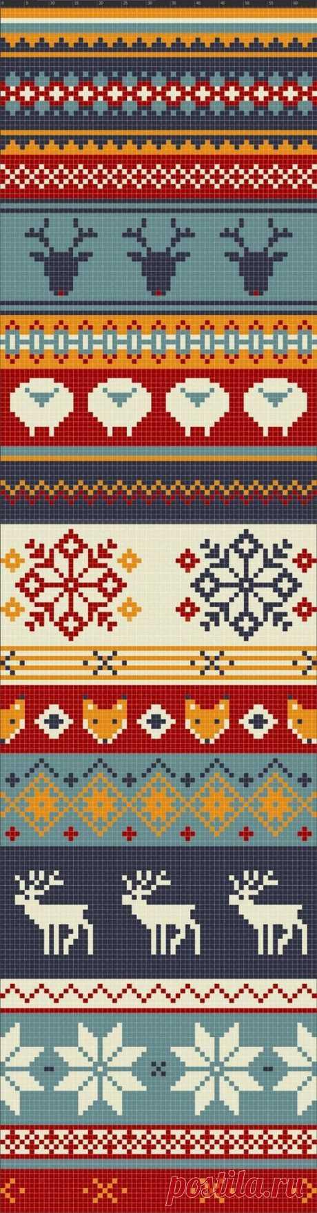 Жаккардовое вязание спицами цветы