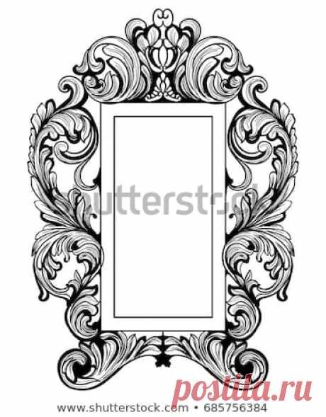 Стоковая векторная графика «Fabulous Baroque Mirror Frame Set Vector» (без лицензионных платежей), 685756384: Shutterstock