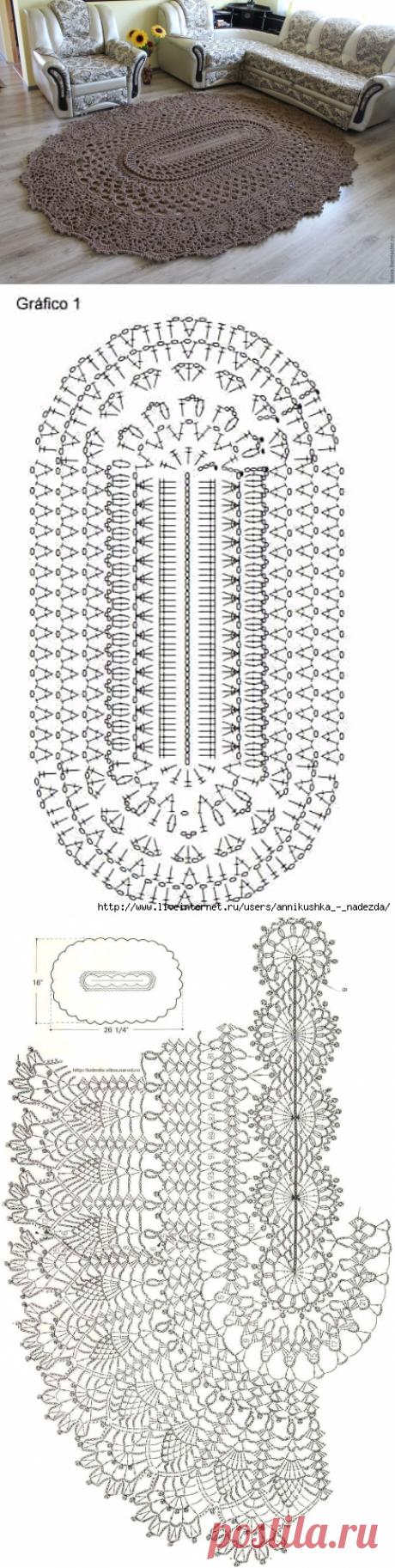 Рельефный ковер из шнура (крючок)