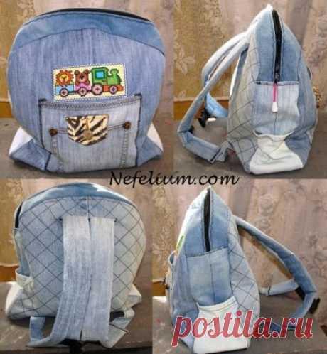 Как сшить детский рюкзак из старых джинсов: выкройка и мастер класср