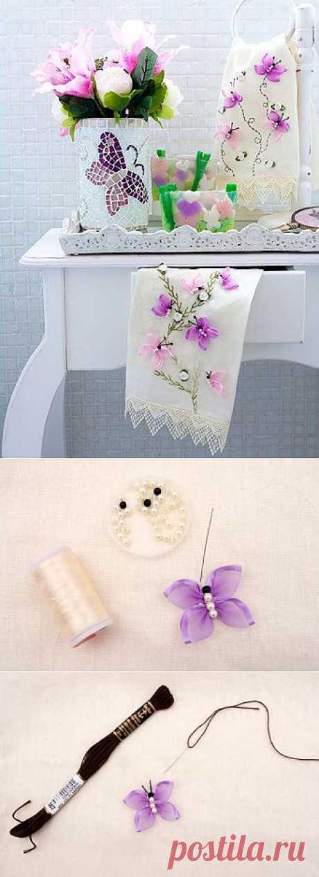 Вышивка лентами бабочки. МК | РУКОДЕЛИЕ