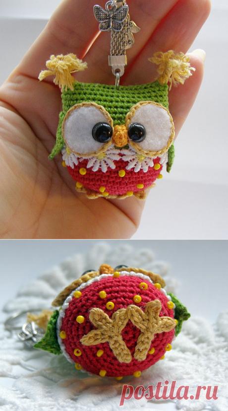 Owl keychain crochet owl key chain amigurumi owl toy bag by Laska