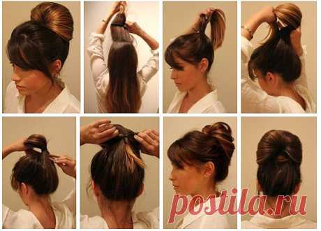 Простая прическа-хвост на средней длины волосы