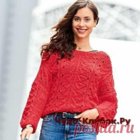 Алый пуловер спицами | ✺❁сайт ЧУДО-клубок ❣ ❂✺Алый пуловер спицами описание и схемы к нему: ❂ ►►➤6 000 ✿моделей вязания ❣❣❣ 70 000 узоров►►Заходите❣❣ %