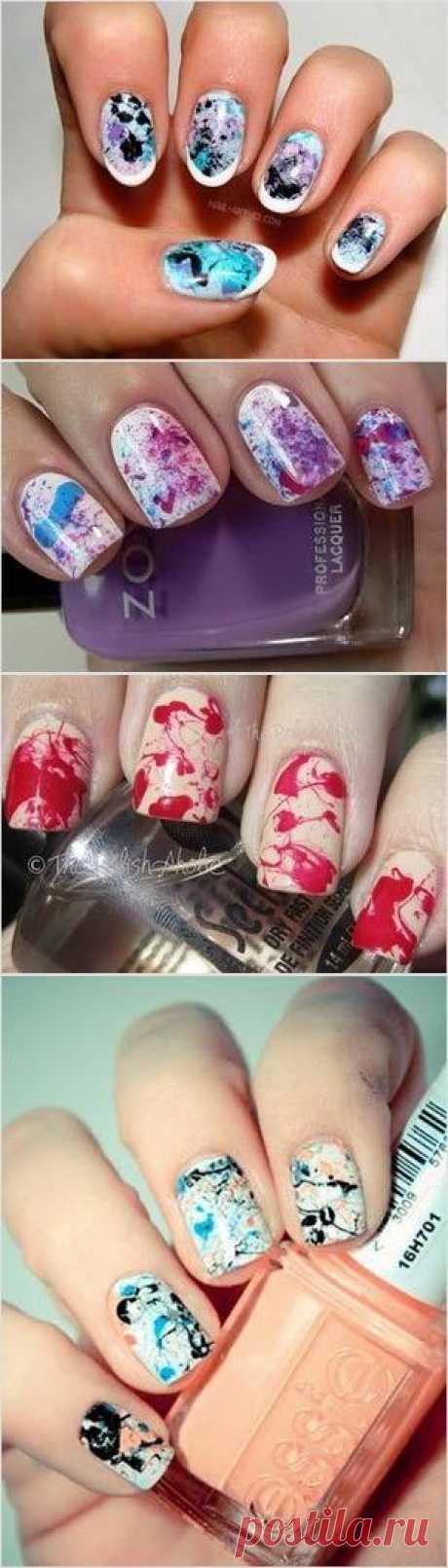 Дизайн ногтей: брызги лаками