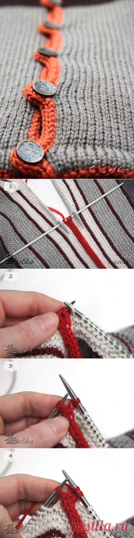 El modo completamente admirable de la unión de las telas y el ribeteado del borde por el método i-cord. MK