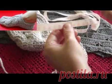 """Следки крючком  с узором """" коса"""" часть 1(knitting sledkov)"""