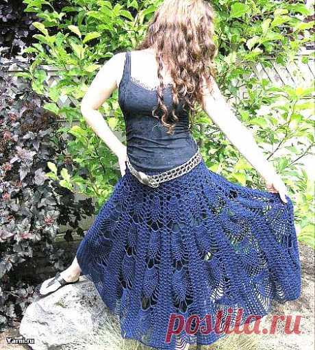 Чудесная летняя юбка крючком.