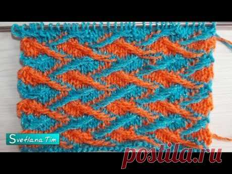 Зигзаг Двухцветный рельефный узор. Ленивый жаккард. Вязание спицами # 572