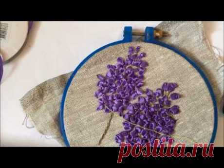 The lilac embroidered with tapes (we embroider each flower separately)