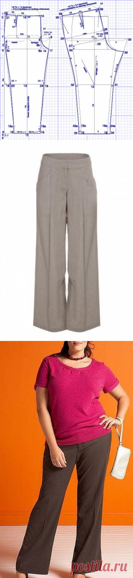 Выкройка брюк для полных женщин