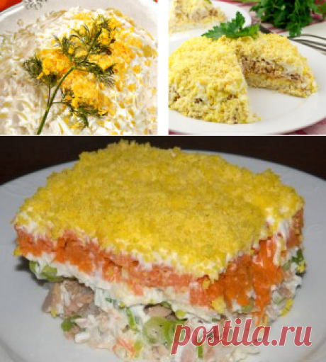 Салат Мимоза, рецепт с консервой и сыром