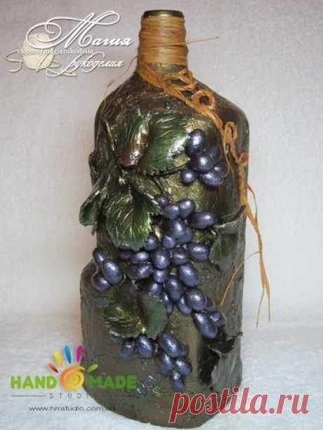 Декор бутылки для вина / Необычные поделки