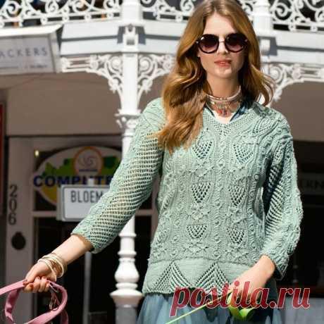 Пуловер с фантазийным узором