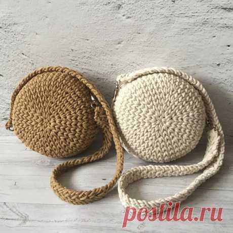 Вязание из хлопкового шнура сумки кругляшки