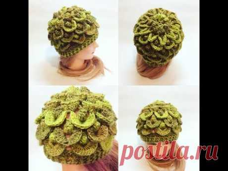 Шапка узором 3d крючком crochet cap